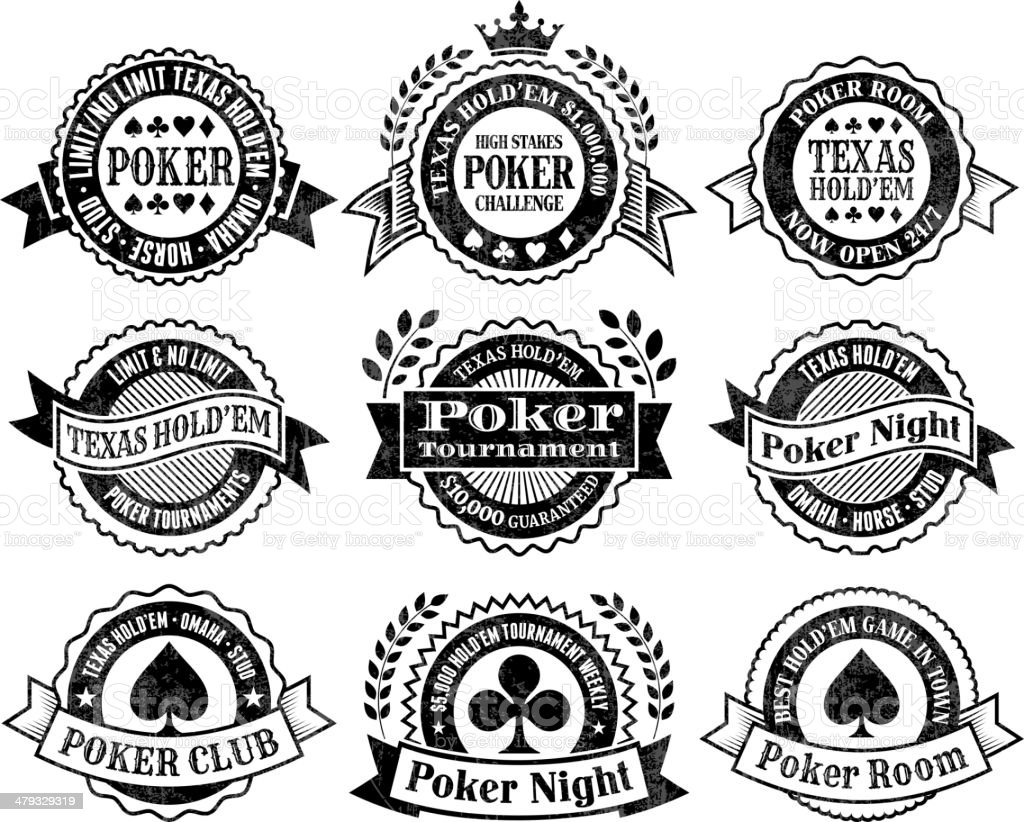 Texas Hold'Em Poker Chips cards and gambling vector graphics vector art illustration