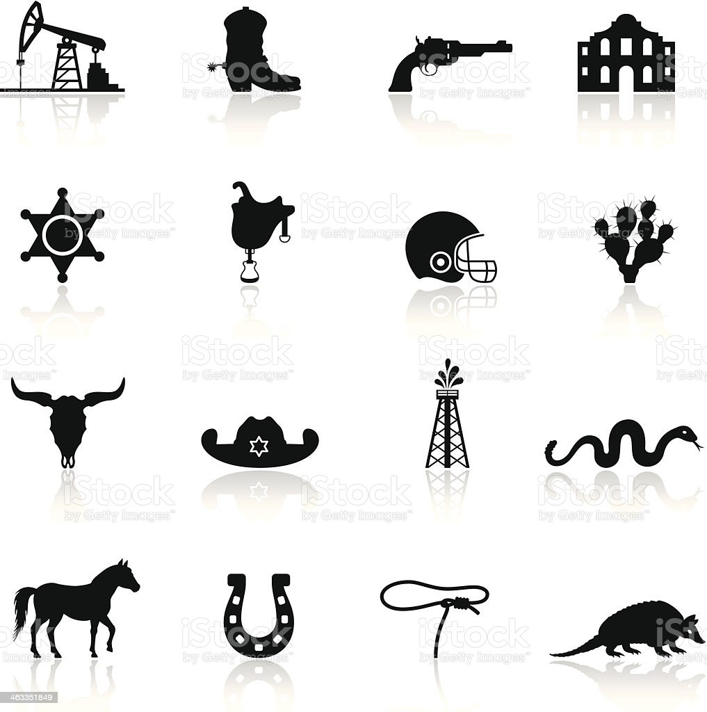Texas Icon Set vector art illustration