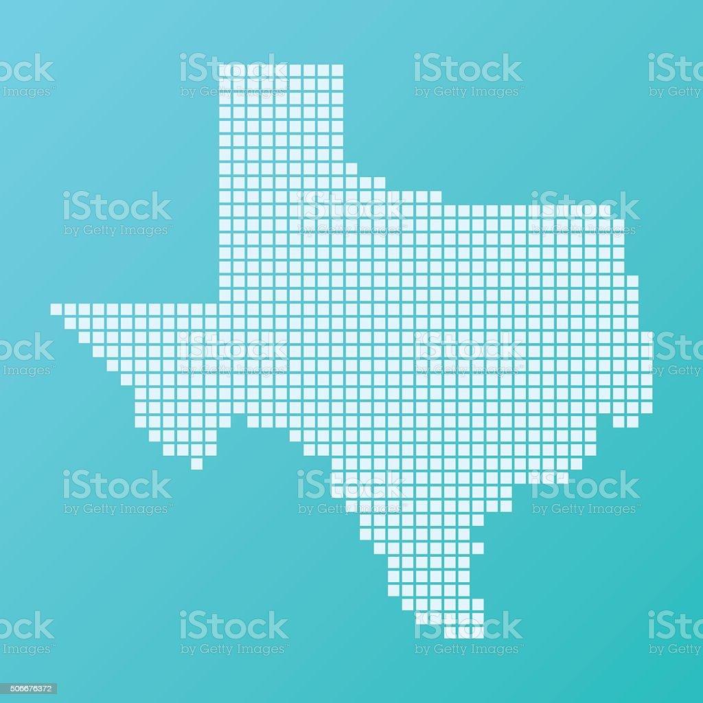 Texas Map Basic Square Pattern Turquoise vector art illustration