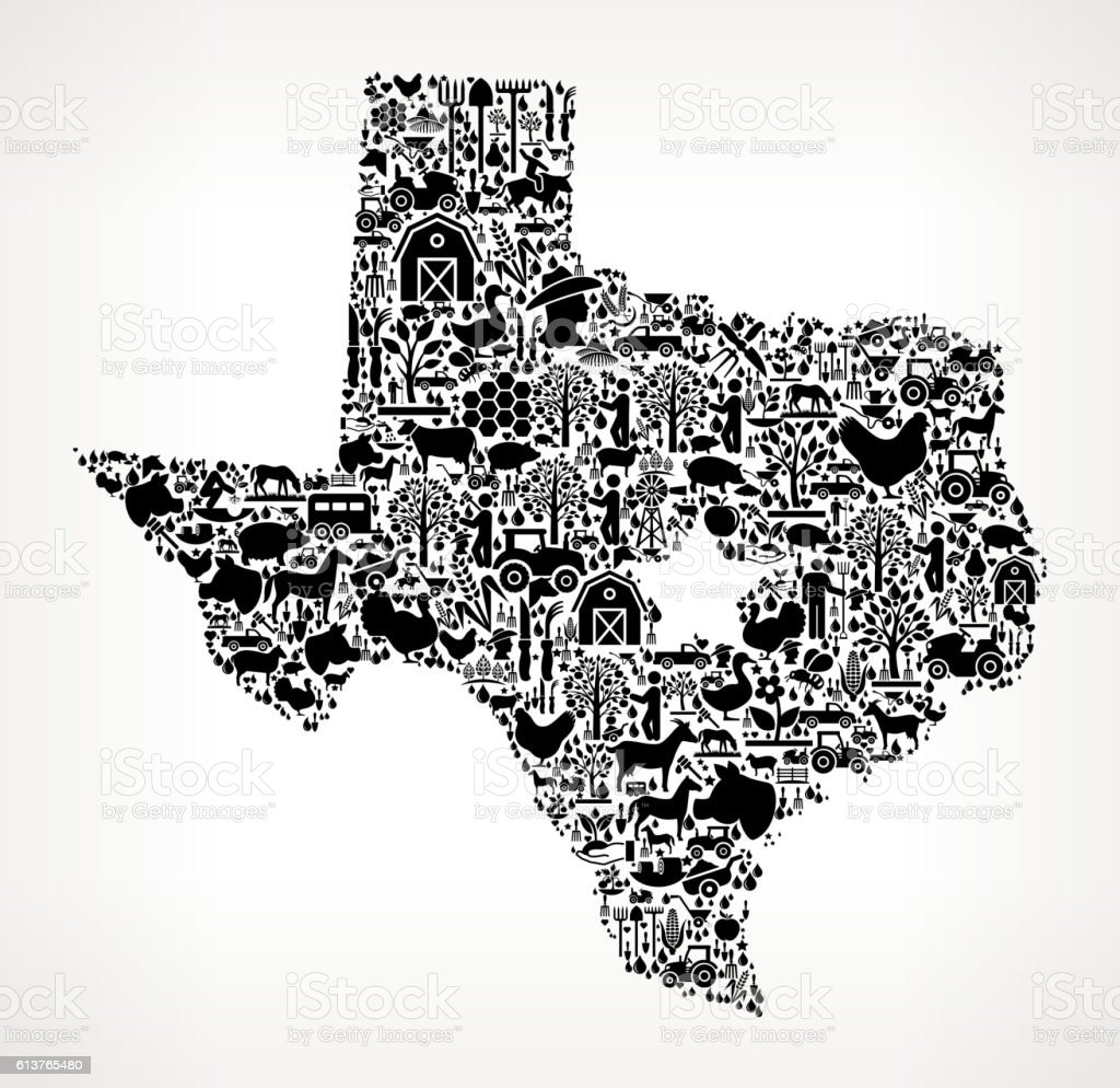 Texas Map Farming and Agriculture Black Icon Pattern vector art illustration