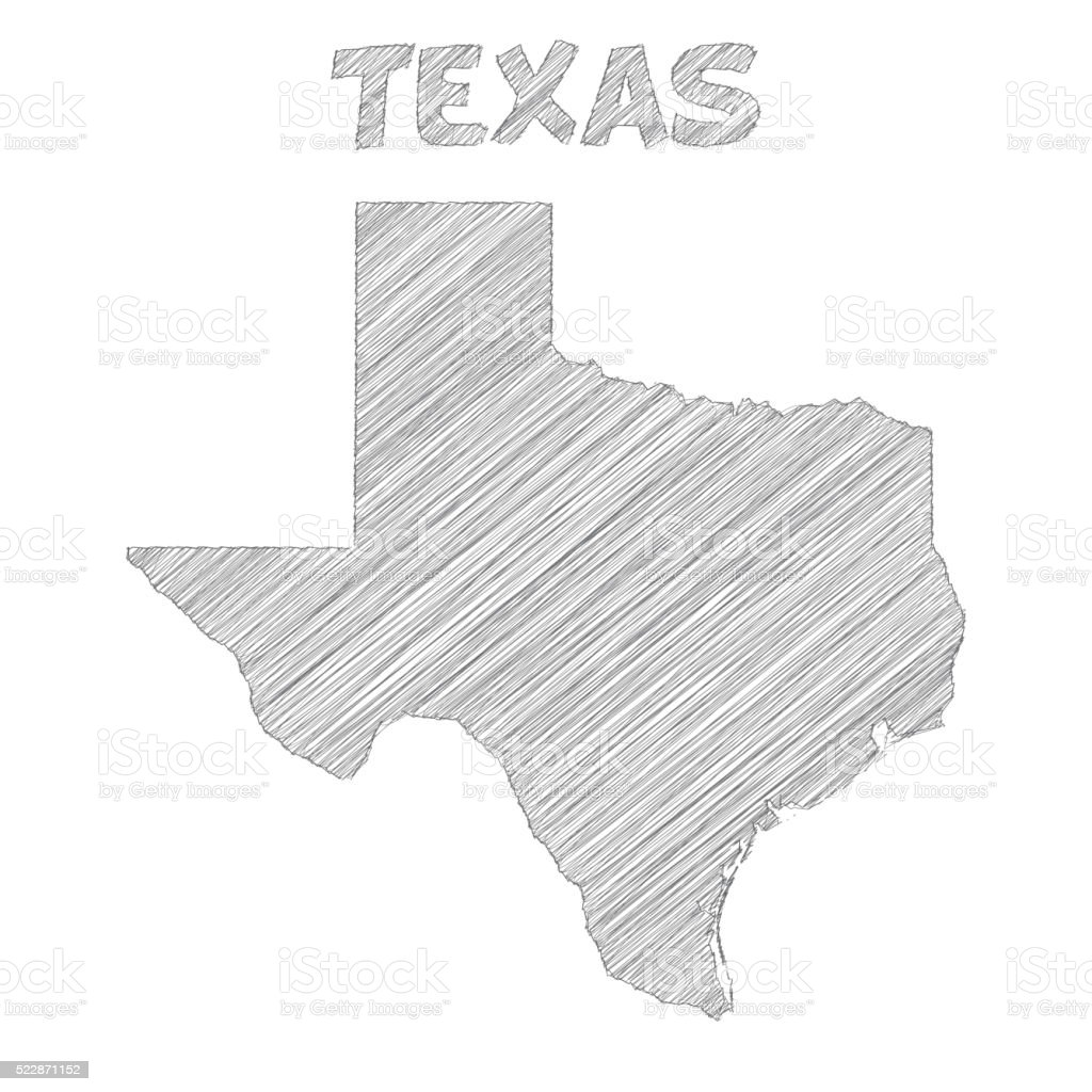 Texas map hand drawn on white background vector art illustration