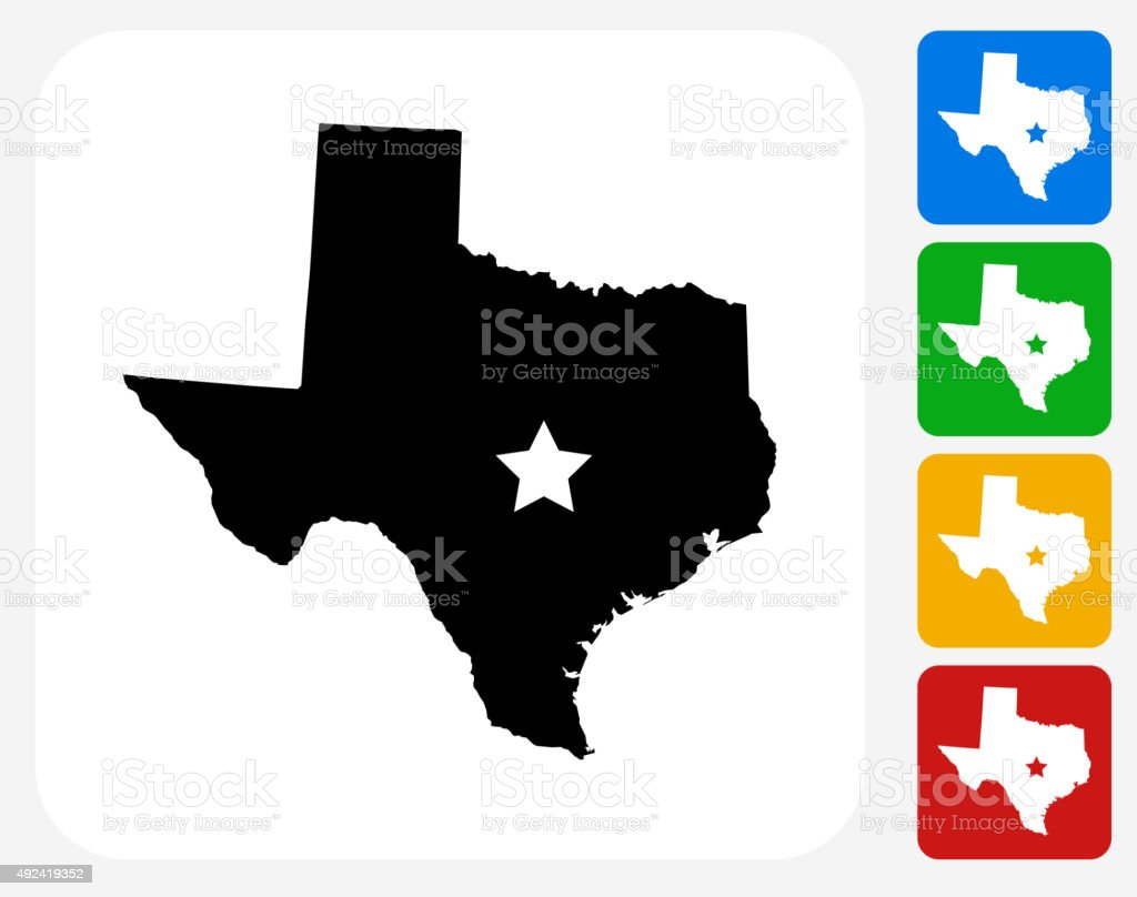 Texas Map Icon Flat Graphic Design vector art illustration