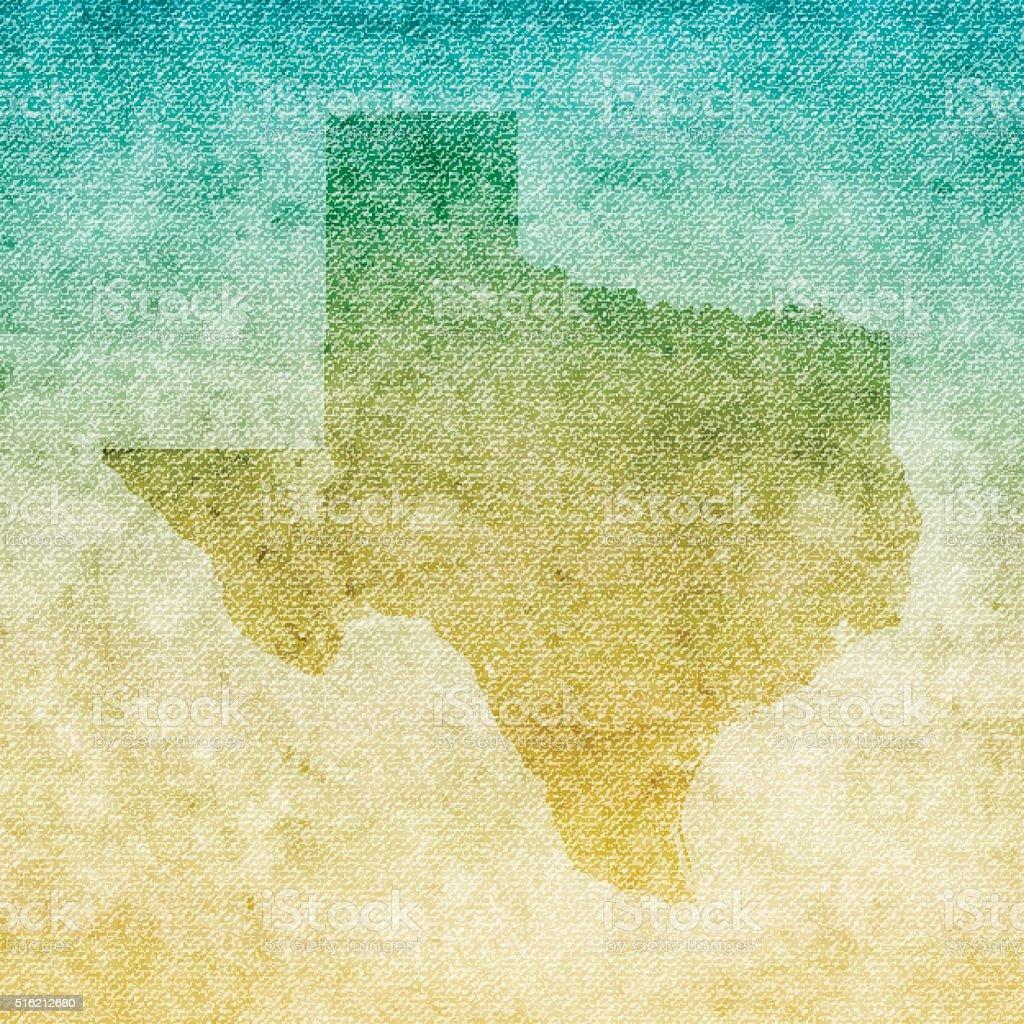 Texas Map on grunge Canvas Background vector art illustration