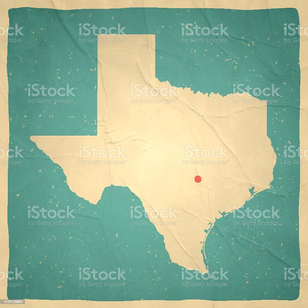 Texas Map on old paper - vintage texture vector art illustration