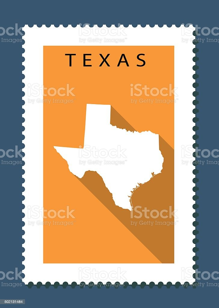 Texas Map on Orange Background, Long Shadow, Flat Design,stamp vector art illustration