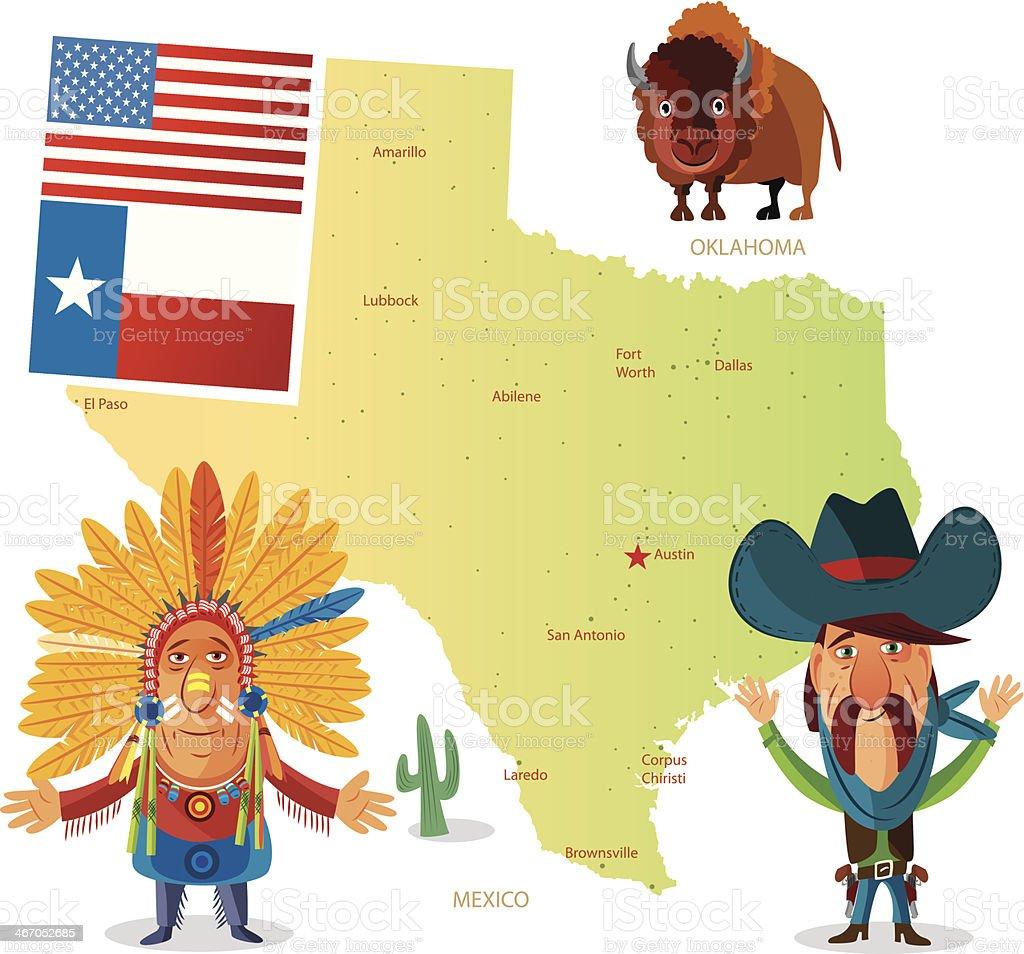 Texas map vector art illustration