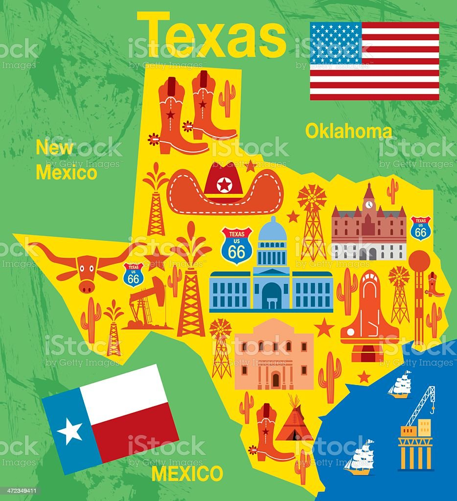 Texas map with traditional state items illustration vector art illustration