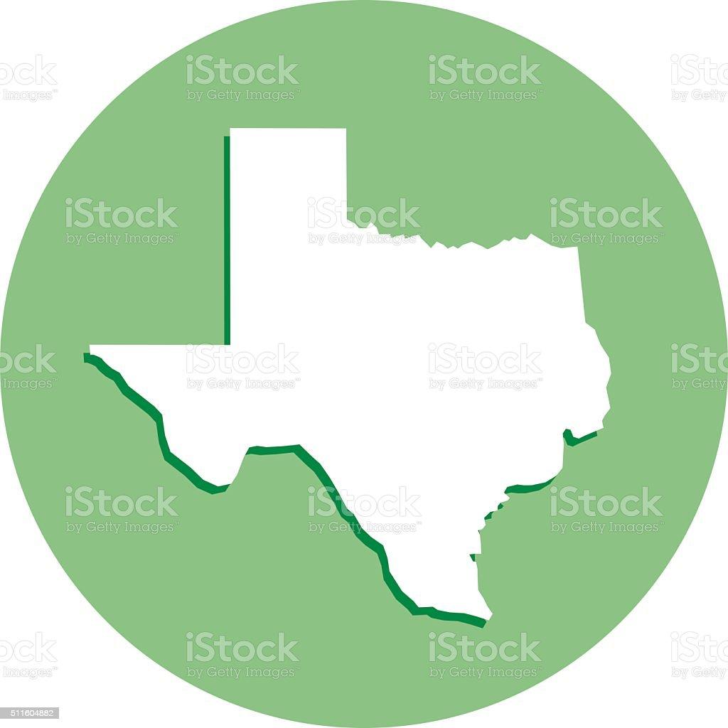 Texas Round Map Icon vector art illustration