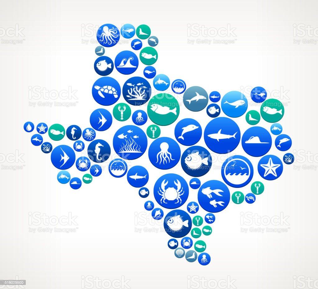 Texas Sea and Marine Life Button Pattern vector art illustration