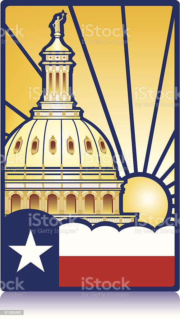 Texas State Capitol and flag vector art illustration