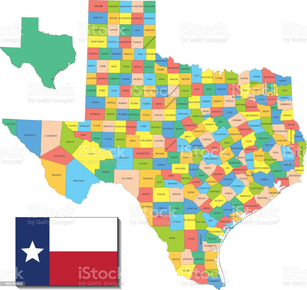 Texas state & counties map royalty-free stock vector art