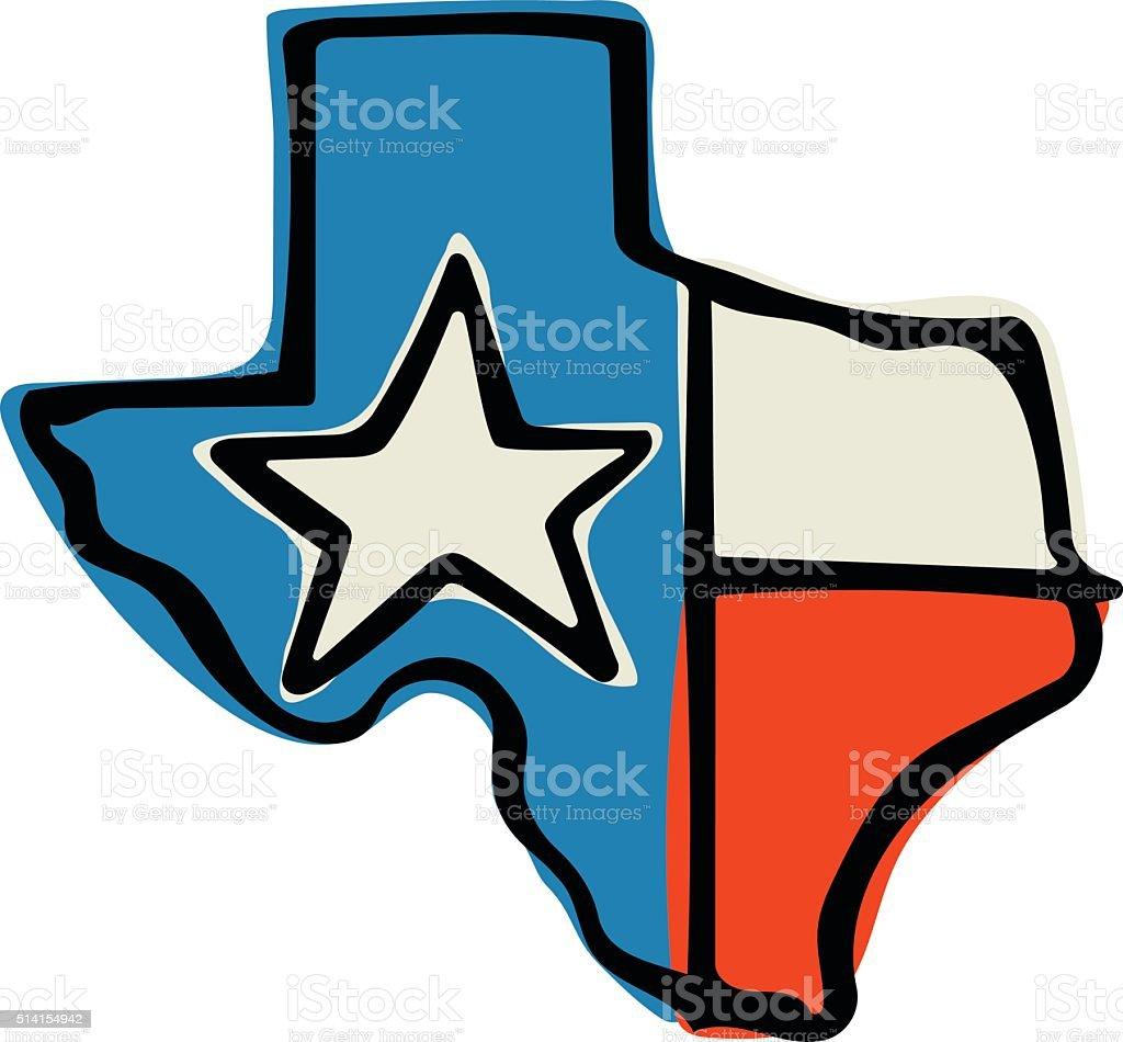 Texas State Flag Doodle vector art illustration
