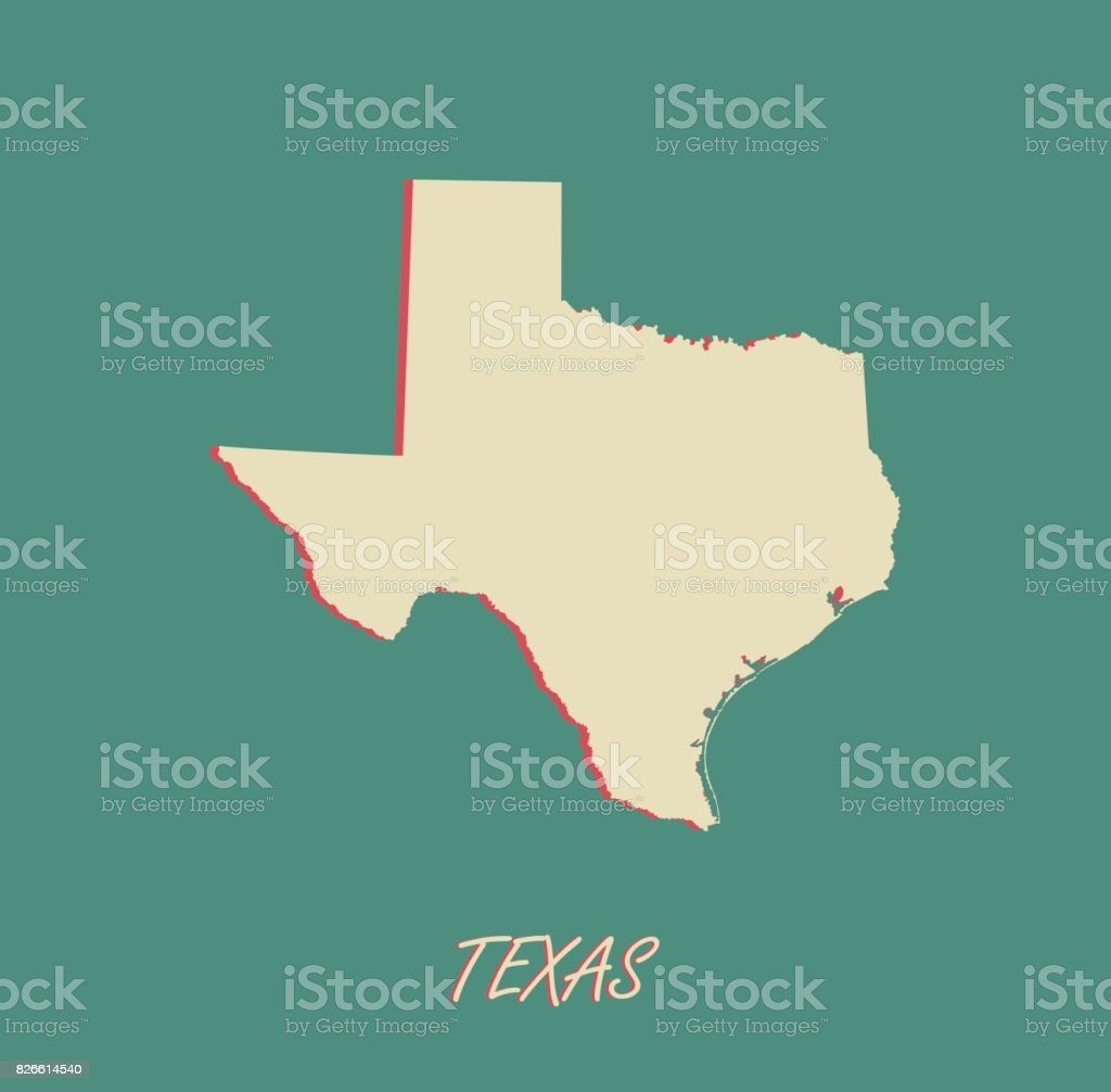 Texas State Of Us Map Vector Outlines In A D Illustration - Us map texas vector