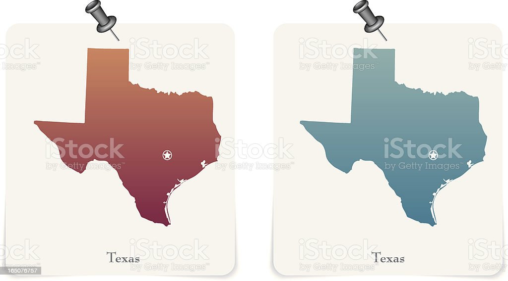 Texas state red and blue cards royalty-free stock vector art