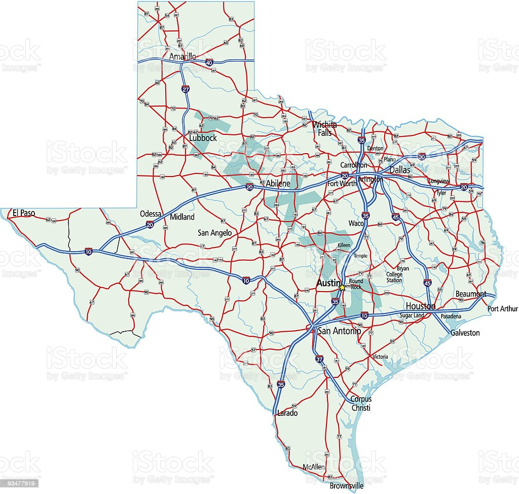 Texas State Road Map Stock Vector Art IStock - Us map texas vector