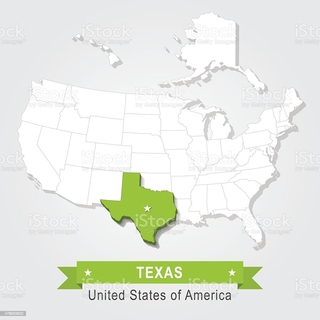 Texas state. USA administrative map. vector art illustration