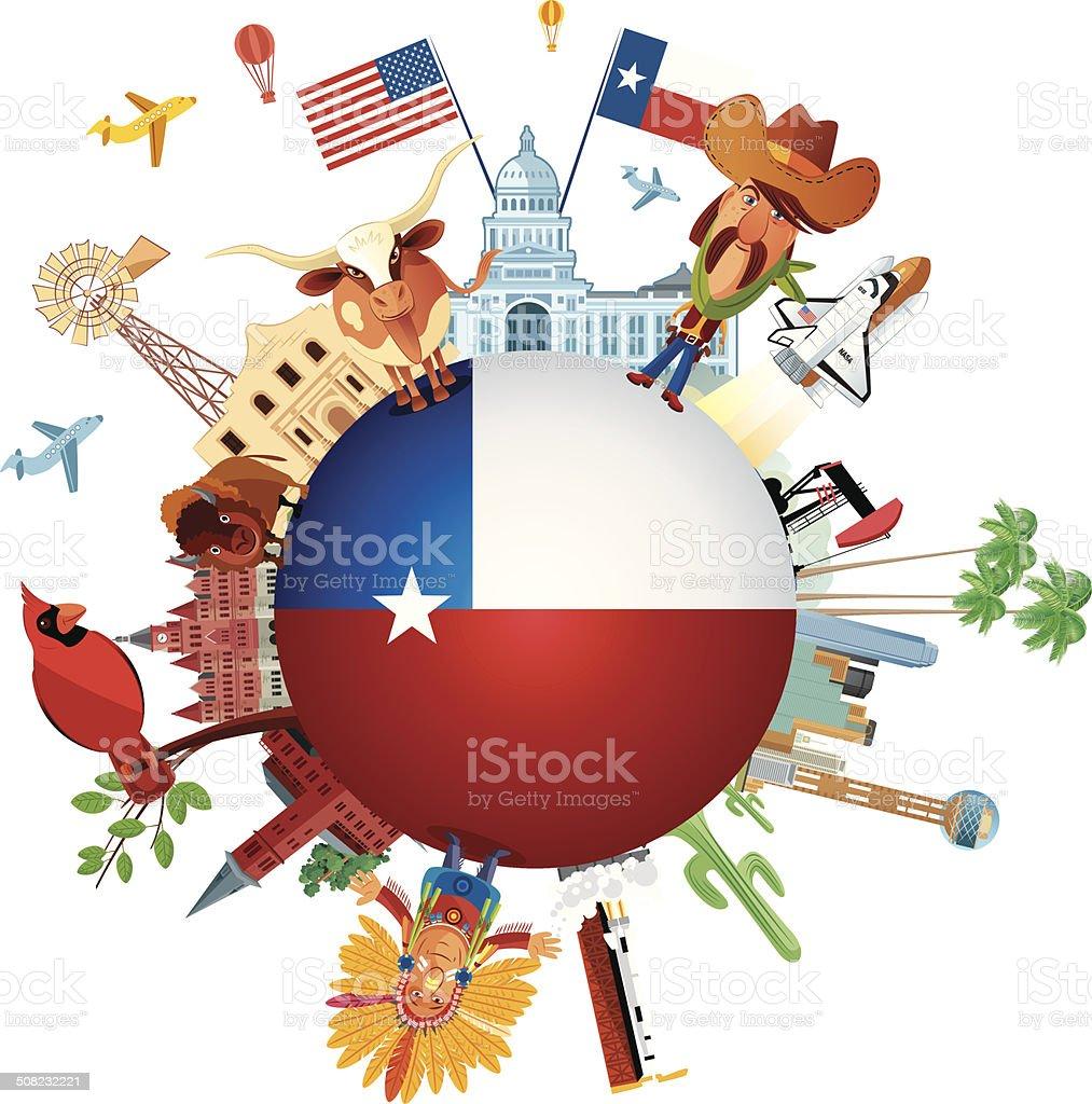 Texas Travels vector art illustration