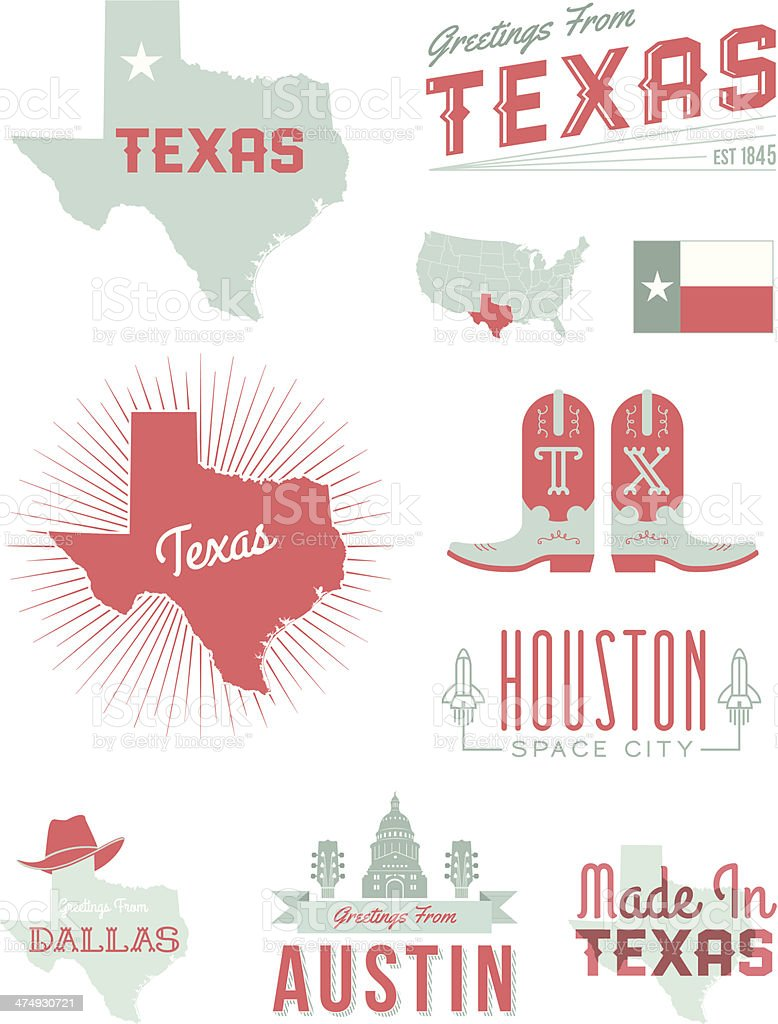 Texas Typography vector art illustration
