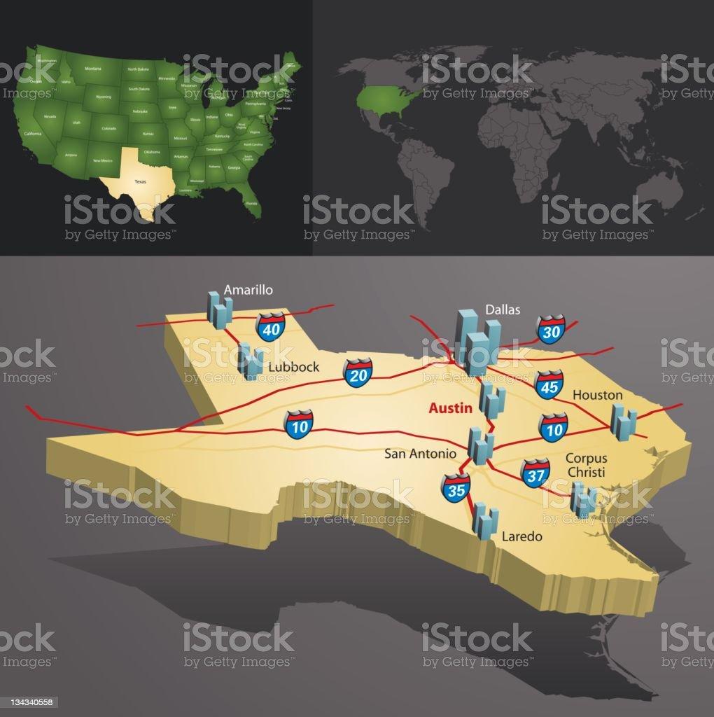 Texas Stock Vector Art  IStock - Road map texas usa