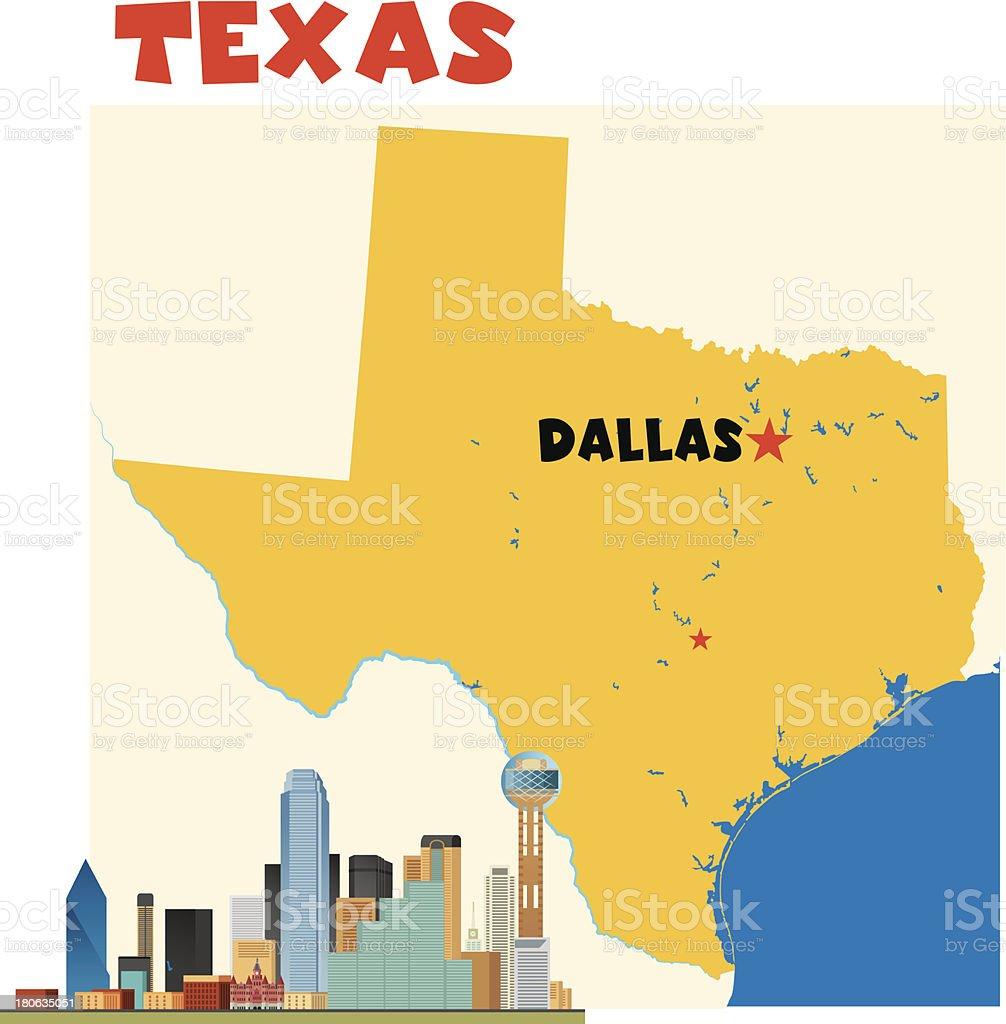 Texas-Dallas vector art illustration