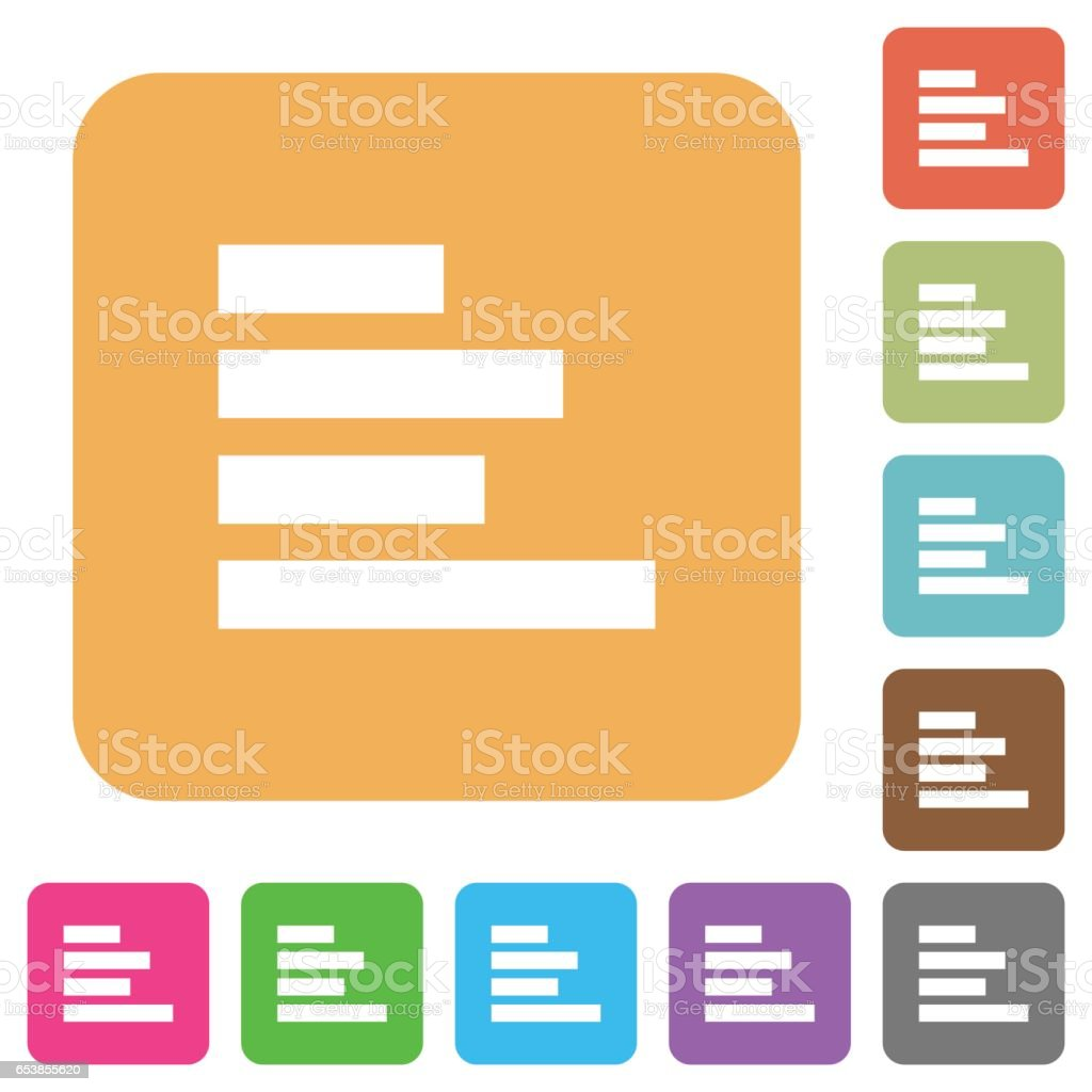 Text align left rounded square flat icons vector art illustration