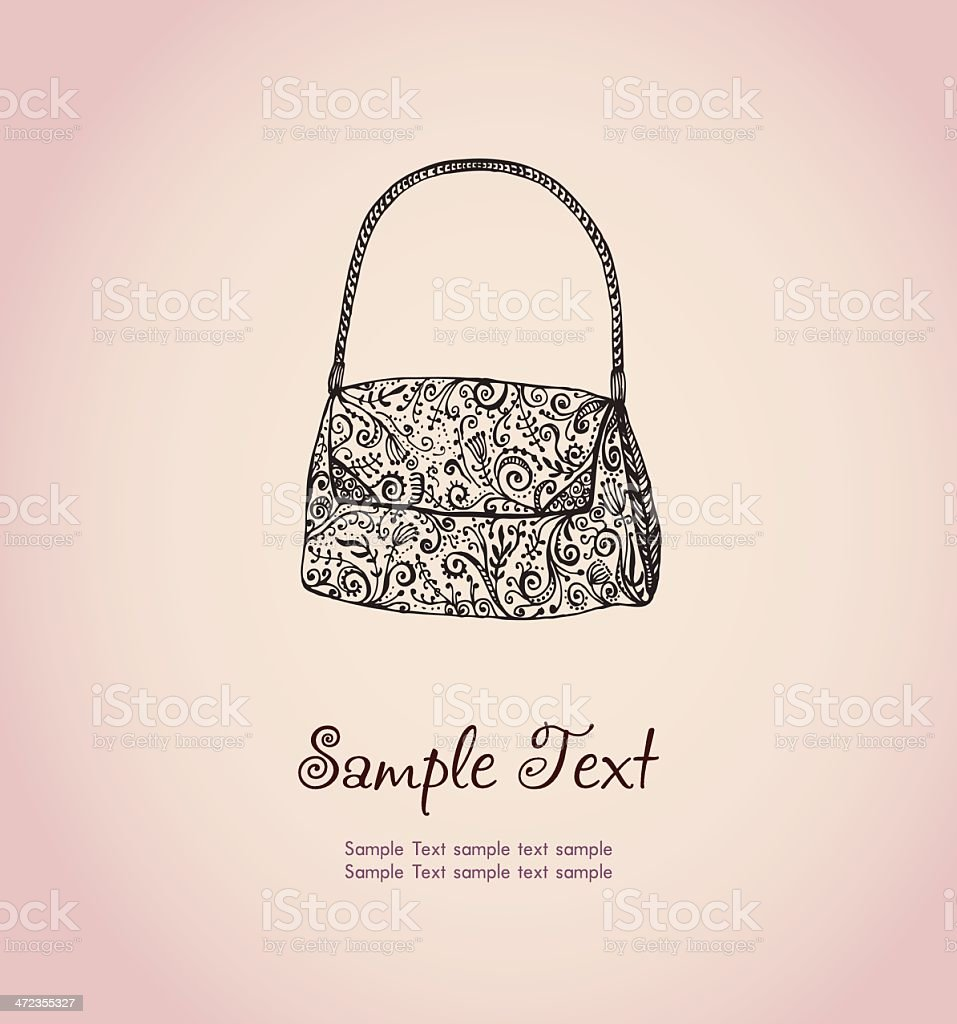Text background with illustration of ornamental woman's bag vector art illustration