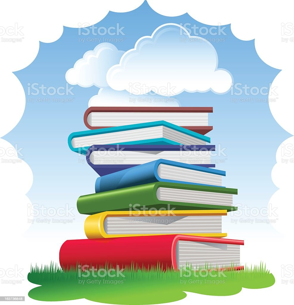 Text Books in the Grass royalty-free stock vector art