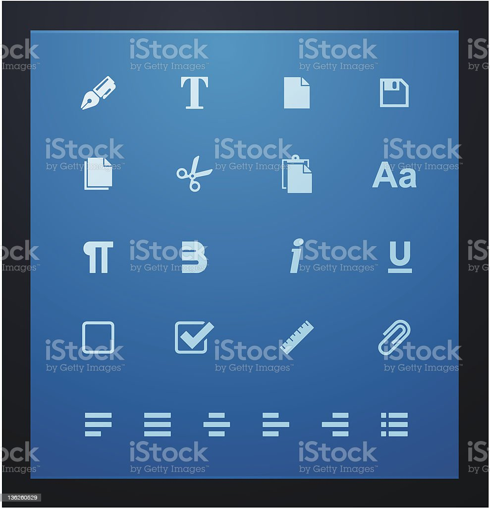 Text editing glyphs set royalty-free stock vector art