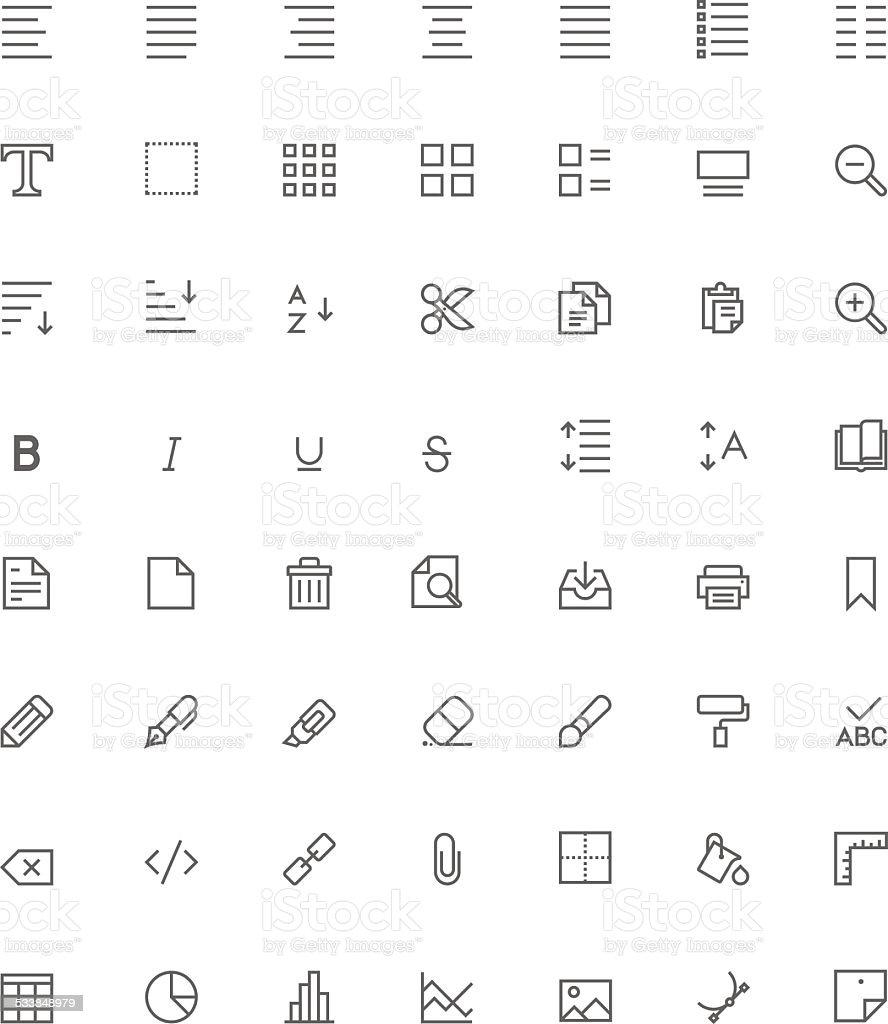 Text editing icon set vector art illustration