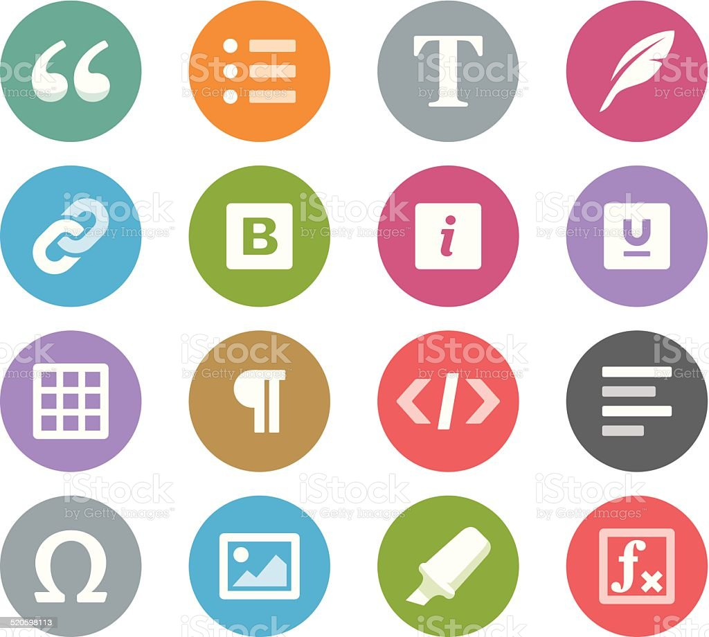 Text editor buttons / Wheelico icons vector art illustration