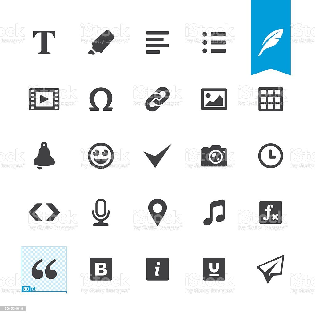 Text editor related vector icons royalty-free stock vector art
