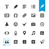 Text editor related vector icons