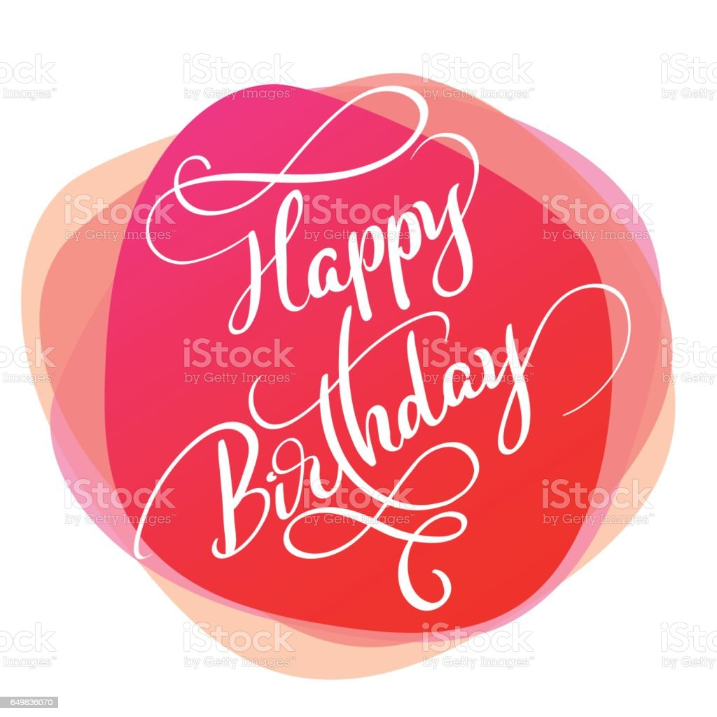 text happy Birthday on red background. Calligraphy lettering Vector illustration EPS10 vector art illustration
