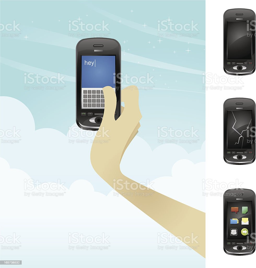 Text Message Cell Phone vector art illustration