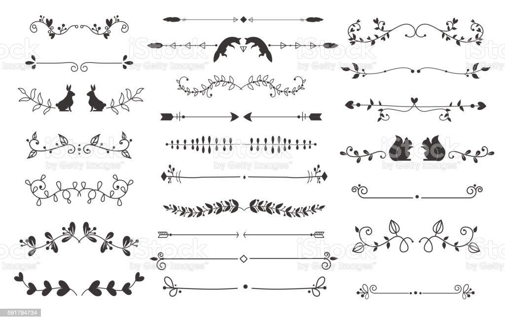 Text separators deccoration vector set. vector art illustration