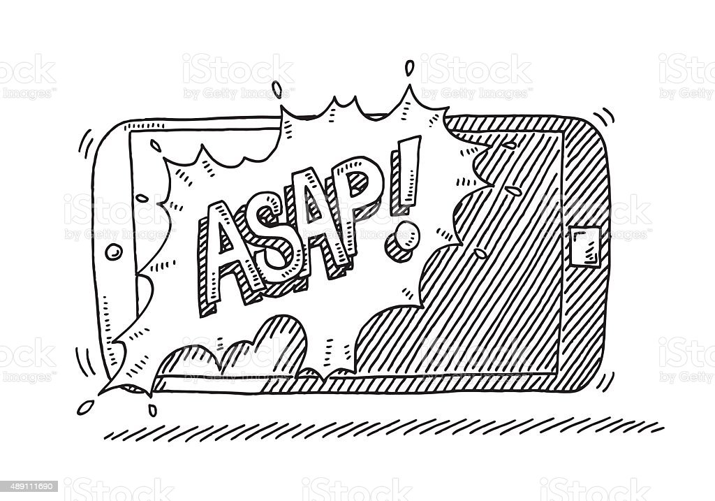 ASAP Text Smart Phone Drawing vector art illustration