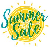 Text Summer Sale with the decor of orange silhouette.