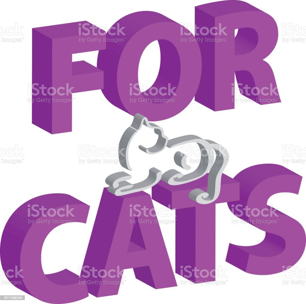 3D text with cat isolated on white background. Home pet. Vector illustration. vector art illustration