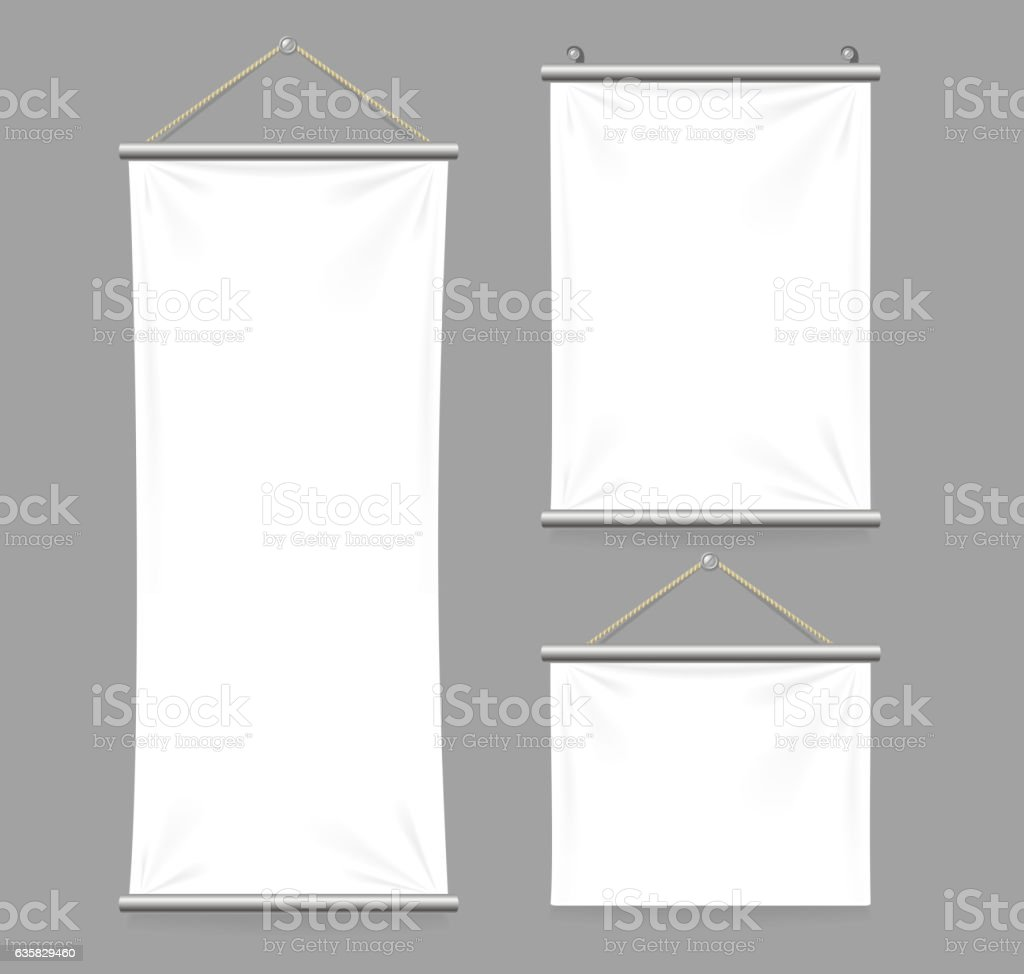Textile Banners with Folds Set. Vector vector art illustration