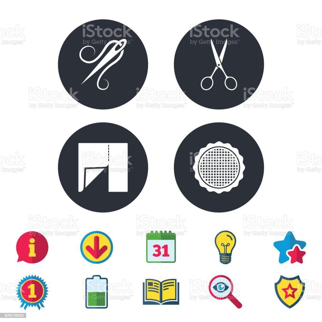 Textile cloth piece icon. Scissors hairdresser. vector art illustration