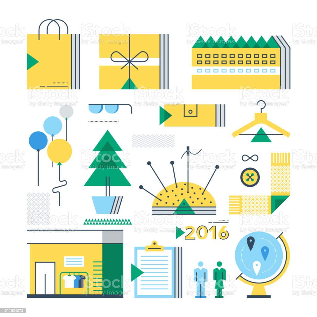 Textile Sector Icons vector art illustration