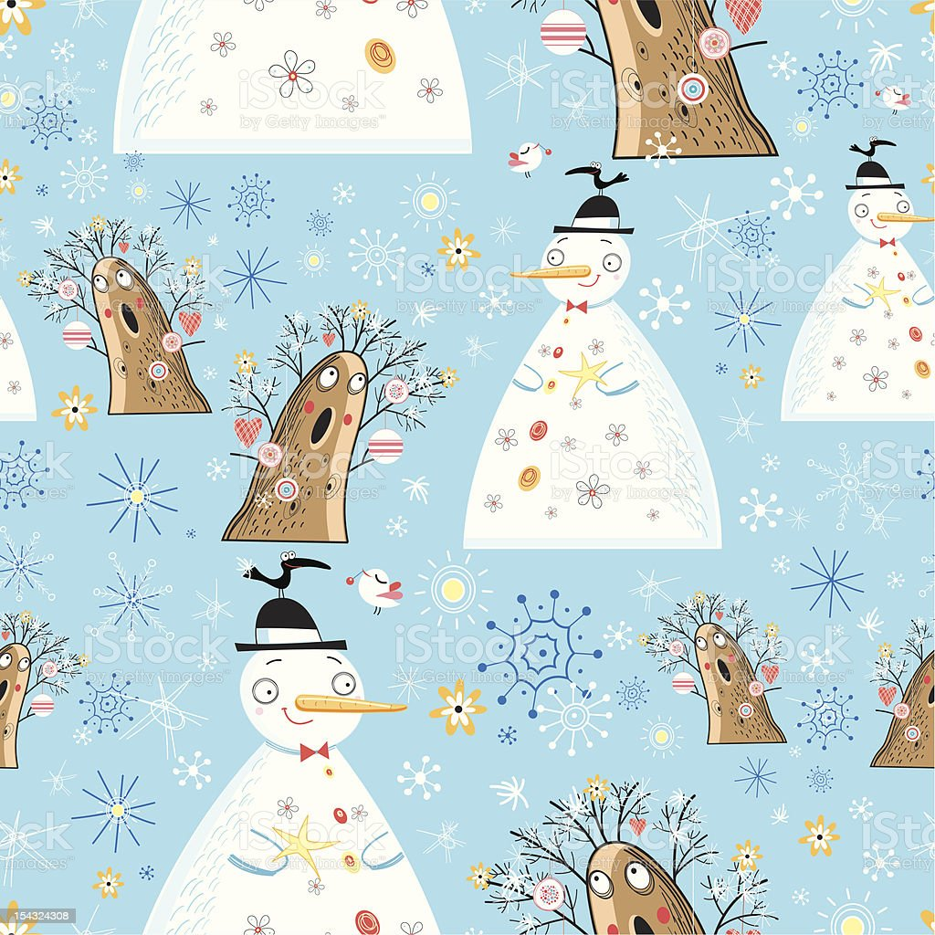 Texture of winter snowmen and trees royalty-free stock vector art