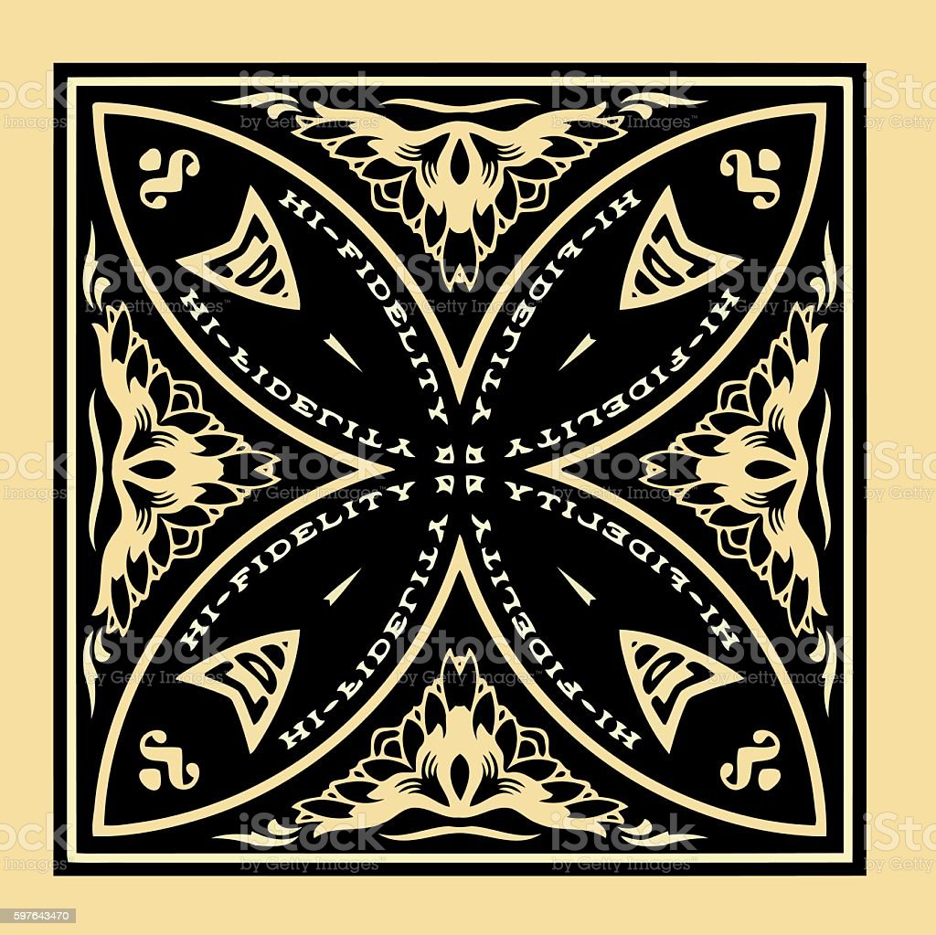 texture symmetrical pattern in black on a yellow background vector art illustration