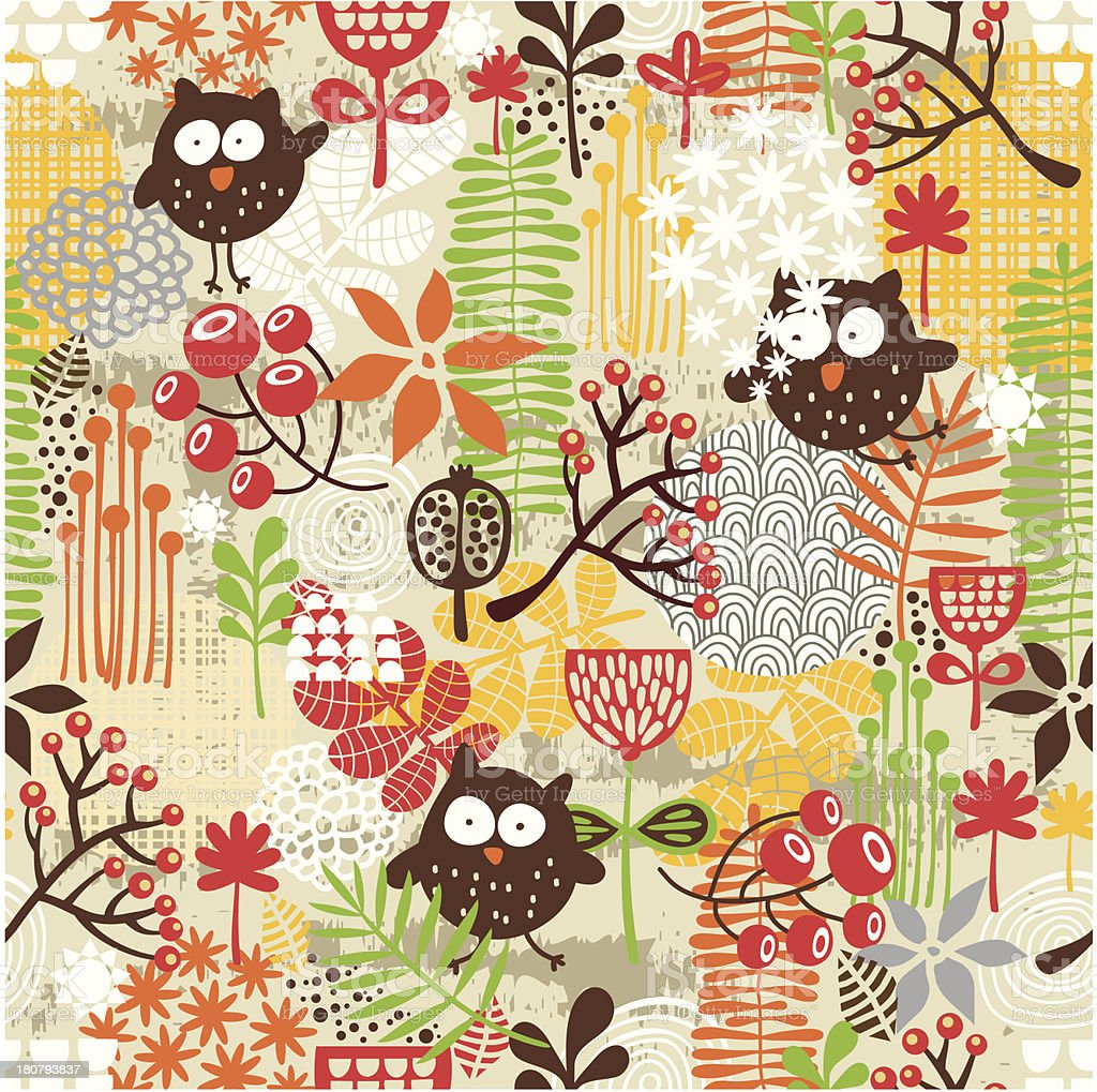 Texture with owls. royalty-free stock vector art