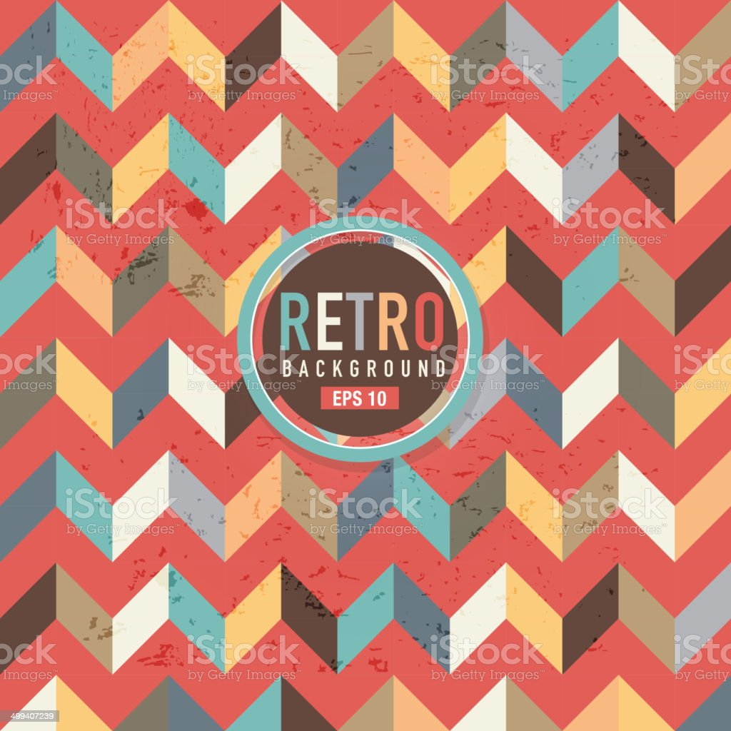 Textured and colorful retro chevron pattern background vector art illustration
