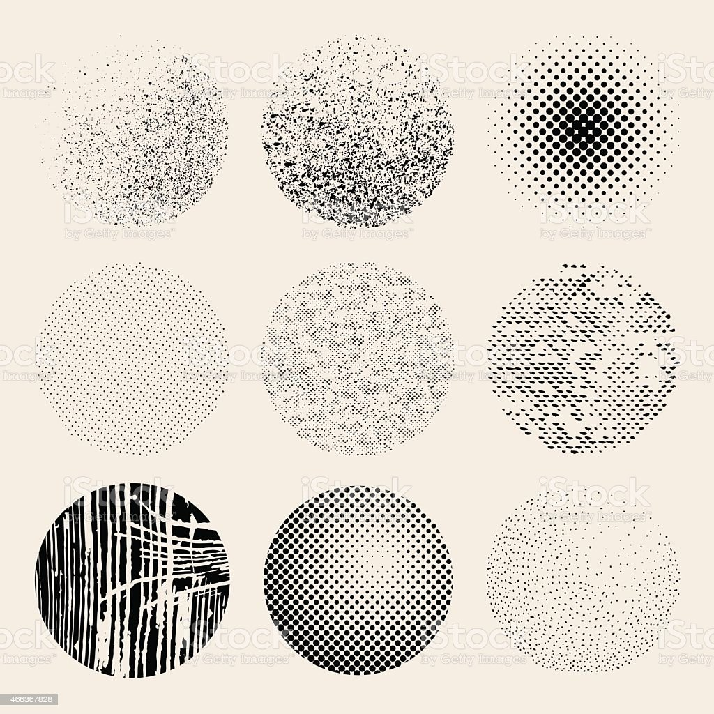 Textured effects circles vector art illustration