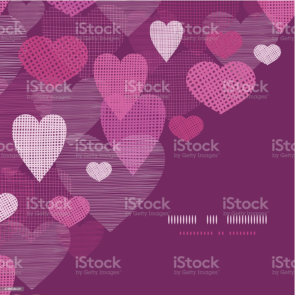 Textured fabric hearts corner frame pattern background royalty-free stock vector art