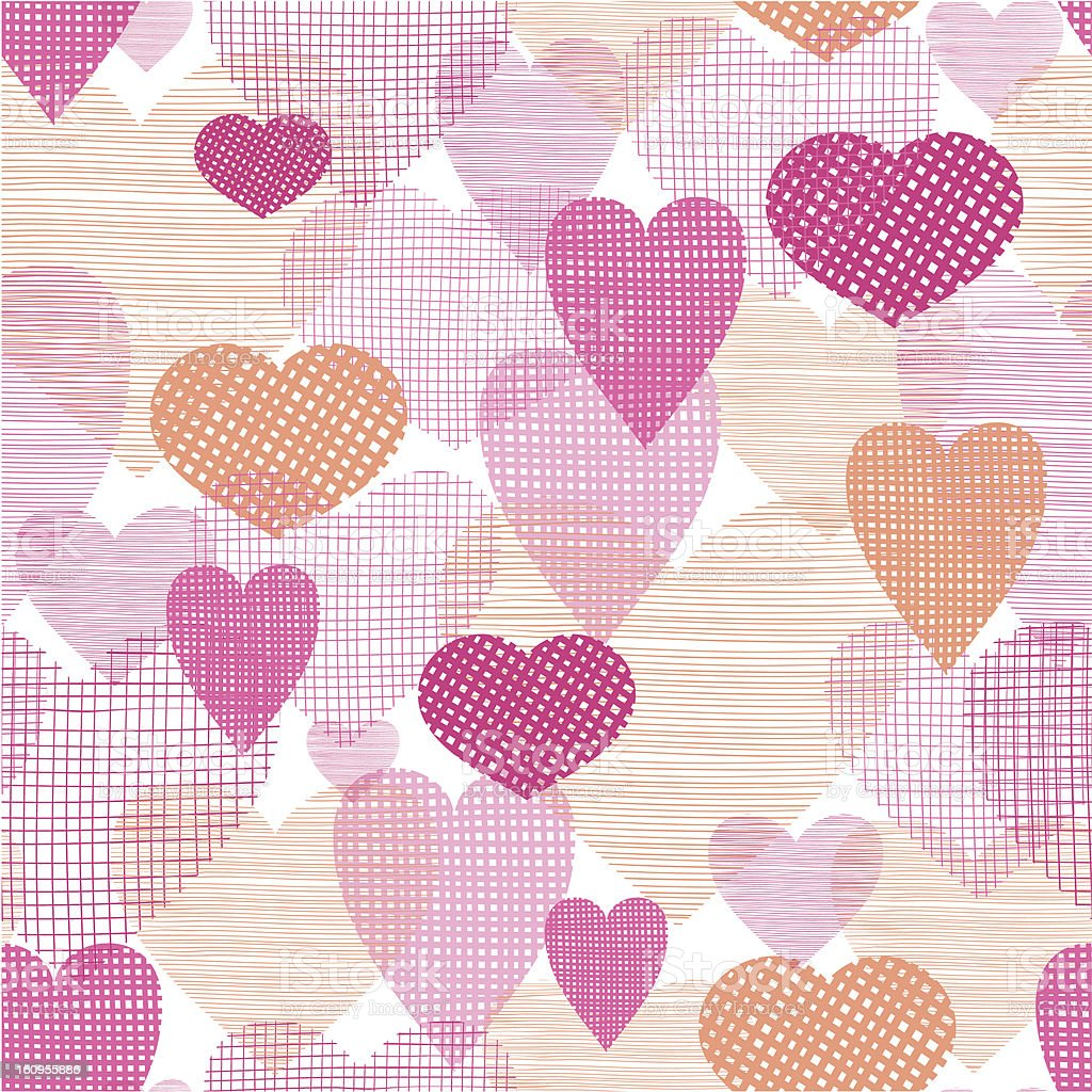 Textured fabric hearts seamless pattern background royalty-free stock vector art
