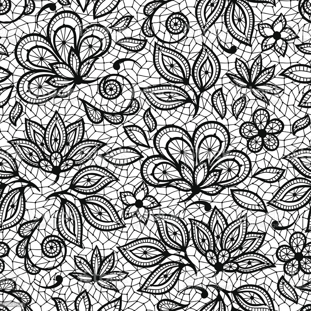 Textured imaging patterned with old lace, ornamental flowers vector art illustration