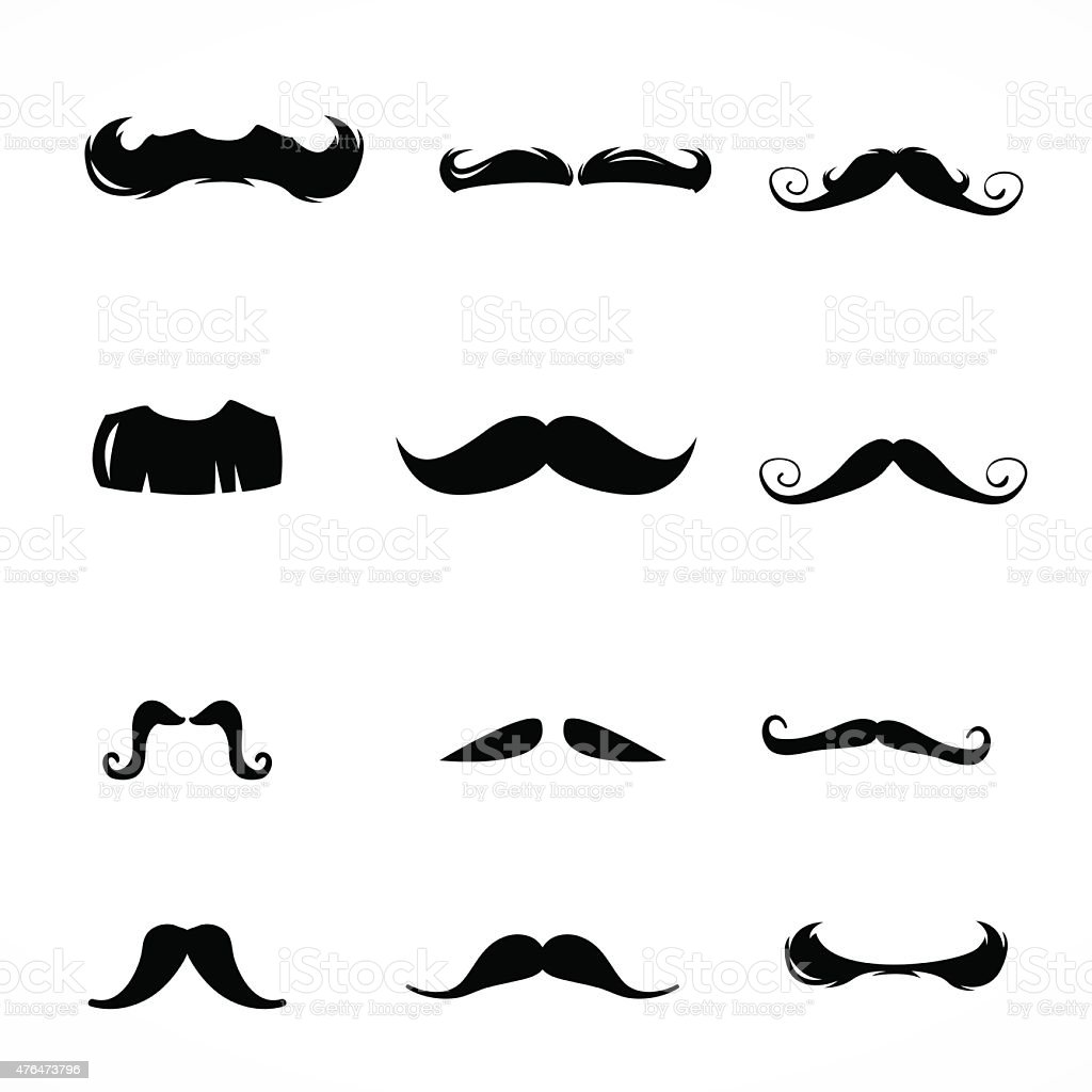 Textured mustache icons vector art illustration